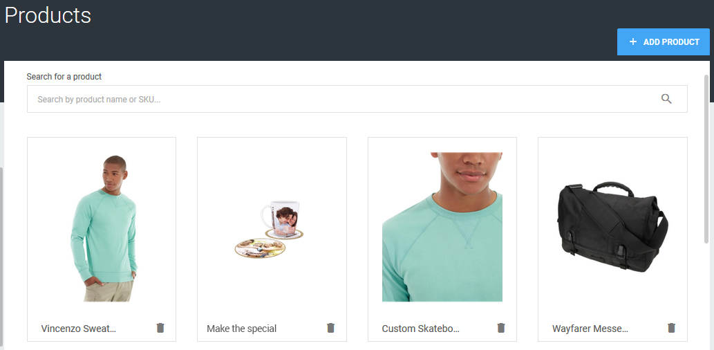 Access to the catalog of customizable products